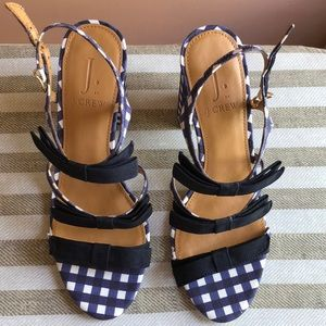 jcrew gingham strappy sandals with black bows